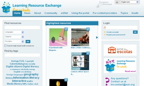 Ecrã do website do Learning Resources Exchange da European Schoolnet